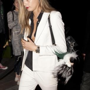 cara-delevingne-white-suit-mulberry-backpack-bag-and-fendi-karl-lagerfeld-bag-pom-pom-celebrity-fashion-and-designer-handbags